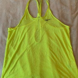 Nike Dri-fit neon yellow running top medium